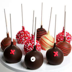 Hugs and Kisses Chocolate Dipped Cake Pops