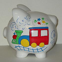Large personalized train piggy bank - Train piggy banks ...