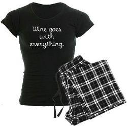 Wine Goes with Everything Women's Dark Pajamas
