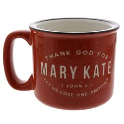 Personalized Thank God For You Red Campfire Mug