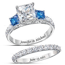 Personalized Platinum-Plated Bridal Rings with Simulated Diamonds