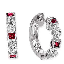 14k White Gold Princess Ruby Huggie Diamond Earrings