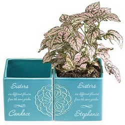 Personalized Sisters Flower Pot Set