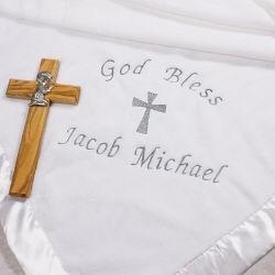 Christening God Bless Fleece Blanket