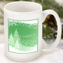 Green Snowscapes Personalized Coffee Mug