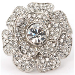 Pave Crystal Camellia Flower Ring