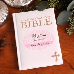 Personalized Pink Child's First Bible with Cross Design