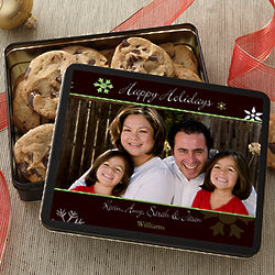 Happy Holidays Personalized Photo Cookie Tin