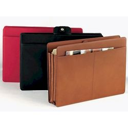Letter Size Leather Accordian File Folder