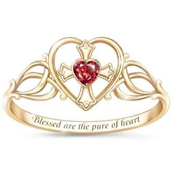 Sacred Heart Engraved Ring with Heart-Shaped Garnet