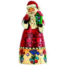 Santa Table Figurine with Birdhouse and Cardinal