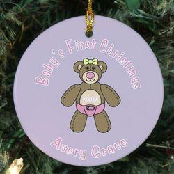 Baby's First Christmas Ceramic Teddy Bear Ornament