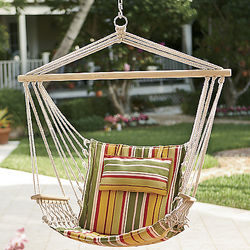 Hanging Hammock Chair with Cabana-Striped Pillow