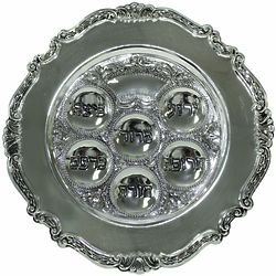 "12"" Silver Plated Traditional Passover Seder Plate"