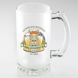 Personalized Bulldog Frosted Beer Mug