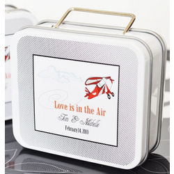 Love is in the Air Suitcase Favor Tin