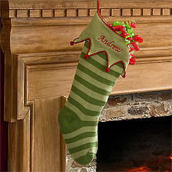 Personalized Green Stripes Knit Christmas Stocking