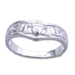 Ladies' Celtic Claddagh Wishbone Ring in Sterling Silver