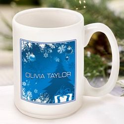Blue Holiday Surprises Personalized Coffee Mug