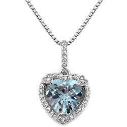 Aquamarine And Diamond Birthstone Heart Pendant in Sterling