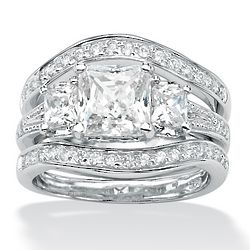 Princess-Cut and Round DiamonUltra Cubic Zirconia Wedding Bands