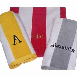 Personalized Cabana Wide Stripe Beach Towels