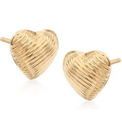 14kt Yellow Gold Heart-Motif Earrings