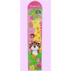 Personalized Zoo Animals Pink Growth Chart