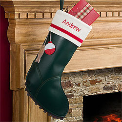 Personalized Fishing Boot Christmas Stocking