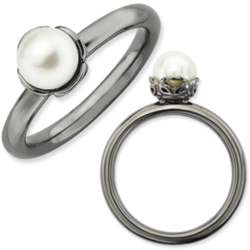 Sterling Silver and Black Rhodium Freshwater Pearl Ring