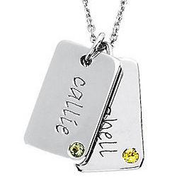 14K White Gold Personalized Mini Dog Tag Pendant