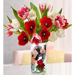 Personalized Vase with Valentine's Tulips
