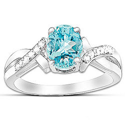 Elegance Aquamarine and Diamond Ring