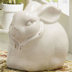 White Rabbit Stoneware Figurine