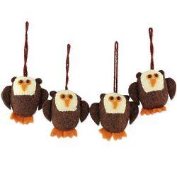 Solemn Brown Owls Wool Ornaments