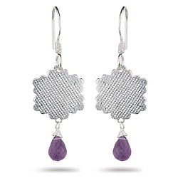 Briolette-Cut Amethyst Earrings in Sterling Silver