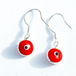 Evil Eye Silver Kabbalah Earrings