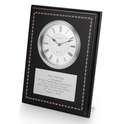 Danbury Black Marquetry Plaque with Clock
