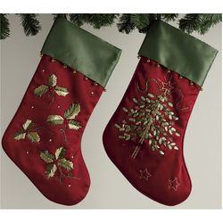 Christmas Stocking with Ribbon Embroidery