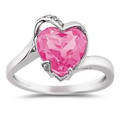 Heart Shaped Pink Topaz and Diamond Ring in 14K White Gold