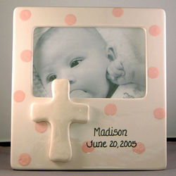 Personalized Ceramic Cross Polka Dot Frame