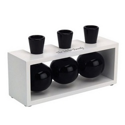 Personalized Ceramic Triple Black Vase With White Base