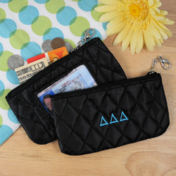 Greek Personalized Quilted Coin Purse with ID Holder