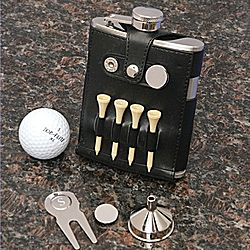 Personalized Golf Leather Flask