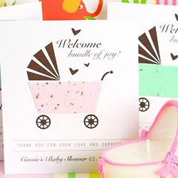 Personalized Baby Carriage Seed Card Favor