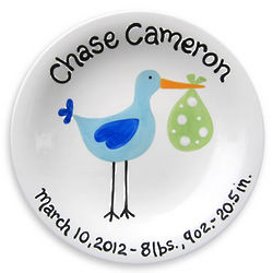 Personalized Just Arrived Boy's Stork Plate