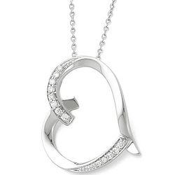 CZ I Love You Mom Heart Necklace in Sterling Silver