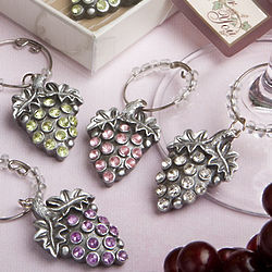 Glistening Grape Design Wine Charm Set