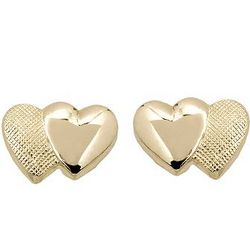 Child's 14kt Yellow Gold Double Heart Post Earrings