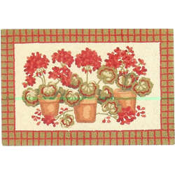 Geraniums Hooked Wool Area Rug